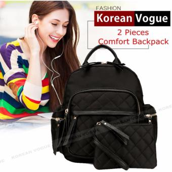 Korean Vogue 2 Pieces KV4008 Mysterious Black Series High Quality Nylon Student Unique Style Casual Backpack Bag Set