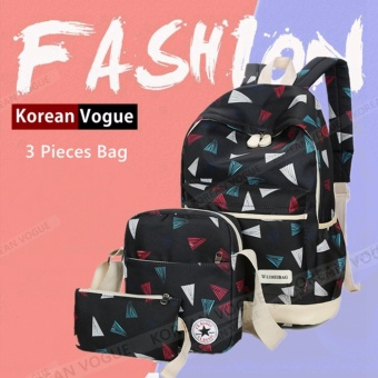 Korean Vogue 3 Pieces KV3003 Mysterious Black Series Student Unique Style Nylon Casual Backpack Bag Set