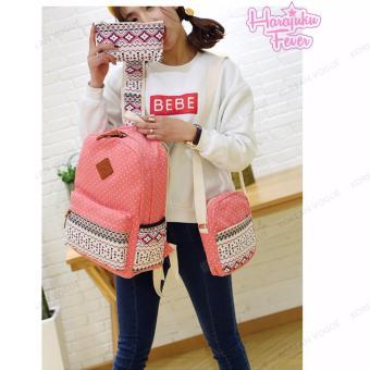 KOREAN VOGUE KV3004 Nylon Polka Dots 3 Pieces Backpack Shoulder Bag Set (Light Blue) - 5