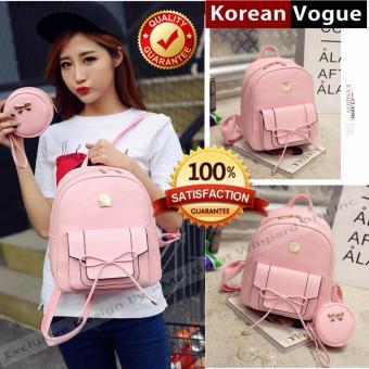 KOREAN VOGUE KV4004 High Quality Ladies Smooth Faux Leather 2 Pieces Women Unique Backpack Bag Set (Pink)