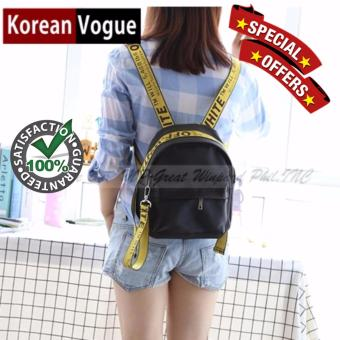 Korean Vogue KV7004 Mysterious Black Series Small Size Student Unique Style Nylon Casual Backpack Bag(Black/Yellow)