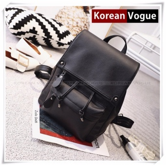 Korean Vogue KV8002 Mysterious Black Series Synthetic Leather Student Unique Style Casual Women Backpack Bag