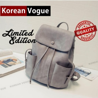KOREAN VOGUE KV8003 Pu Leather Women Casual Backpack Ladies Bag(Grey)