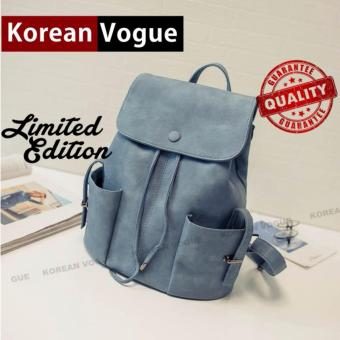 KOREAN VOGUE KV8003 Pu Leather Women Casual Ladies Backpack Bag(Light Blue)