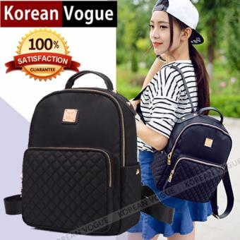 Korean Vogue KV8006 Mysterious Black Series Nylon Student Unique Grid Style Casual Backpack Bag