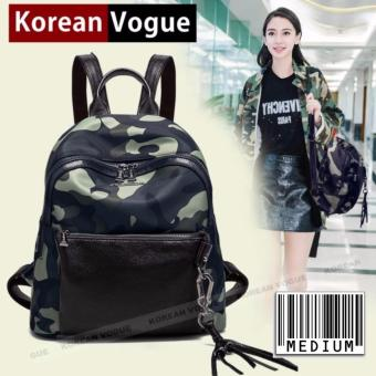 KOREAN VOGUE KV8007 Medium Size Waterproof Nylon Women Unique Ladies Style Backpak Bag(Comouflage/Black)
