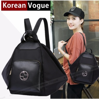KOREAN VOGUE KV8008 -4 Waterproof Nylon Women Unique Style BackpackBag (Black)