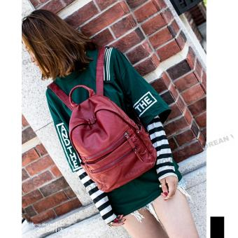 Korean Vogue KV8020 Quality PU Leather Student Unique Style Backpack Bag(Red)