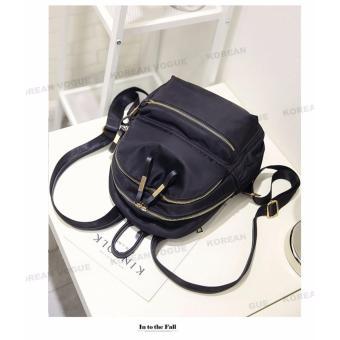 Korean Vogue KV8051 Mysterious Black Series Student Unique DoubleCompartment Style Nylon Casual Backpack Bag - 4