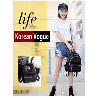 Korean Vogue KV8051 Mysterious Black Series Student Unique DoubleCompartment Style Nylon Casual Backpack Bag