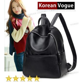 Korean Vogue KV8060 Quality Synthetic Leather Mysterious Black Series Student Unique Simple Style Casual Backpack Bag(Black)