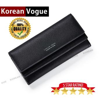 Korean Vogue LW-007 Ladies High Quality Long Section Three FoldedWoman Handbag Wallet (Black)