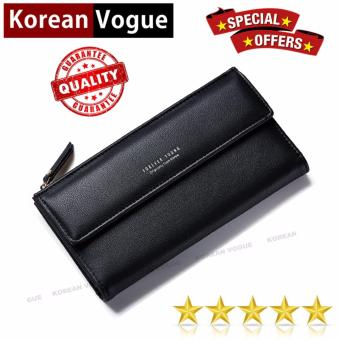 Korean Vogue LW-013 Ladies Simple Design Long Section 2 Folded Cellphone Wallet Woman Handbag Wallet ( Black)