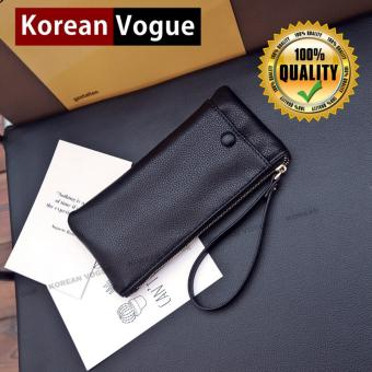 Korean Vogue LW-014 High Quality Synethic Leather Ladies Simple Design Long Section Cellphone Wallet Woman Handbag Wallet ( Black)