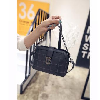 Korean Vogue SB-014 PU Leathere Small Size Women Grid Hard ShellShoulder Chain Fashion Bag (Grey)