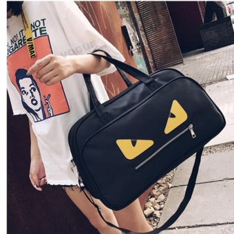 Korean Vogue TB-007 Premium Quality Women Large Capacity Big Eyes Tote Bag Series Ladies Travel Gym Sport Handbag Shoulder Bag(Black)