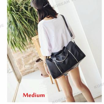 Korean Vogue TB-008 Premium Quality Women Large Capacity DoubleArrow Tote Bag Series Ladies Travel Gym Sport Handbag ShoulderBag(Black-Medium)