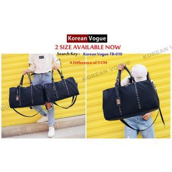 Korean Vogue TB-010 Premium Quality Unisex Large Capacity Rivet Style Tote Bag Series Ladies Travel Gym Sport Handbag Shoulder Bag(Black-Medium) - 2
