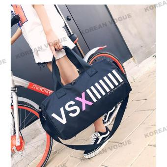 Korean Vogue TB-011 Premium Quality Unisex Large Capacity VXS StyleTote Bag Series Ladies Travel Gym Sport Handbag ShoulderBag(Black-Large)