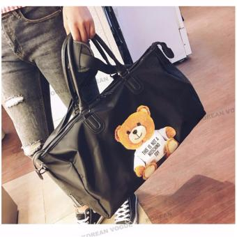 Korean Vogue TB-013 Premium Quality Women PINK 3 Ways Tote Bag Series Ladies Travel Handbag Shoulder Bag(Black Bear)