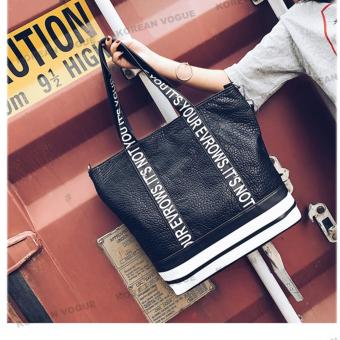Korean Vogue TB-020 Premium Quality Women Large Capacity Tote BagSeries Travel Handbag Shoulder Bag (Black)
