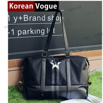 Korean Vogue TB-022 Premium Quality Synthetic Leather Fashion StarLarge Capacity Tote Bag Series Ladies Travel Shopping Sport GymHandbag Shoulder Bag(Black)