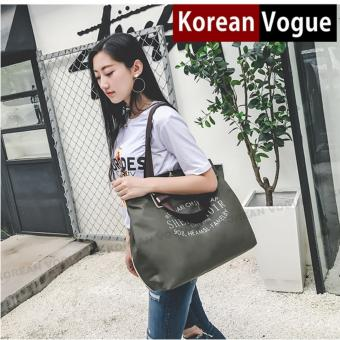 Korean Vogue TB-023 Premium Quality Waterproof Nylon Fashion Letters Large Capacity Tote Bag Series Ladies Travel Shopping Sport Gym Handbag Shoulder Bag(Army Green)