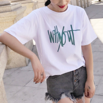 Korean white women's short sleeved New style solid color Top T-shirt