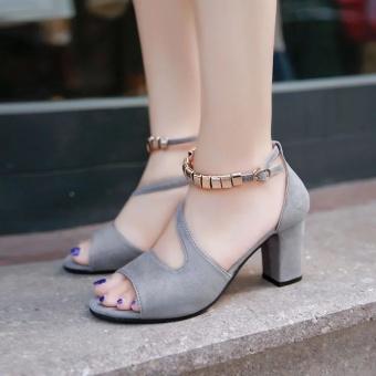 Krecoo Summer Ladies Soft Leather Casual Heel Sandals-Grey - intl - 3