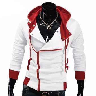 Kuhong explosion of Assassin s Creed sweater oblique zipper hooded jacket White - intl
