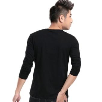 Kuhong Fashion Simple Mens Long Sleeve T-shirt Slim T-shirt (Black) - intl - 2