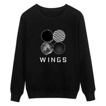 Kuhong Kpop Korean Fashion BTS Bangtan Boys 2ND Album WINGS Hoodies Clothes Sweatshirt Black - intl
