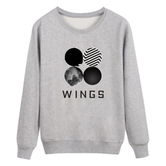 Kuhong Kpop Korean Fashion BTS Bangtan Boys 2ND Album WINGS Hoodies Clothes Sweatshirt Grey - intl