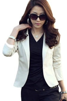 Kuhong New Trendy Slim Blazer Women Elegant Lapel One Button Long Sleeve Blazer Woman Short Suit Jacket Lady Blazer Coat (White) - intl