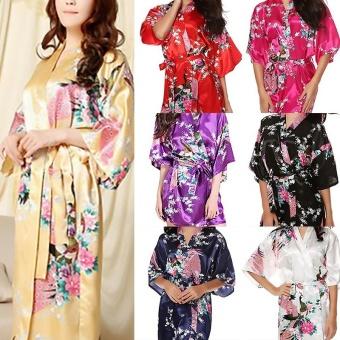 Kuhong Silk Womens Robe Wedding Gown Robes For BridesmaidsNightgown Sleepwear Night Dress White - intl - 2