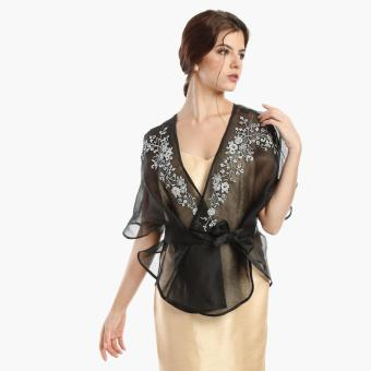 Kultura Ladies Silk Cocoon Wrap Top (Black)