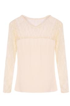Lace Blouse Long Sleeve Blouse (Apricot)