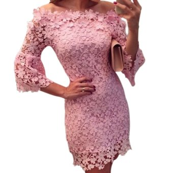 Lace Dress Prom Ball Wedding Short Dress Bridesmaid Evening Gown(Pink)