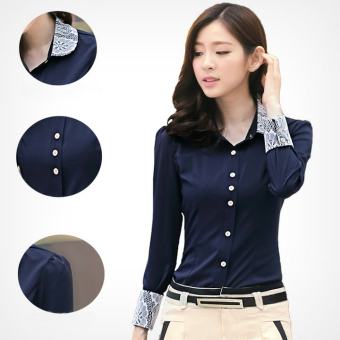 Lace Peter Pan Collar Women's Long Sleeves Slim Navy Blouse - intl