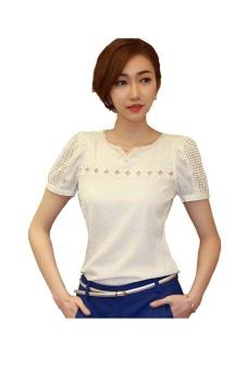 Lace Short Sleeve Shirt V Neck Doll Chiffon Blouse (White)