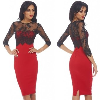 Lace Stitching Dress-Red-L