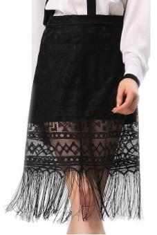 Lace Tassel Skirt (Black)