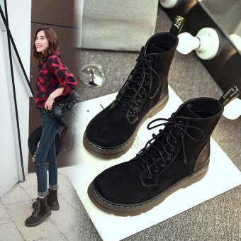 Lace Up Boots Fashion Creative Army Boots Trend Girls Shoes(Black)- intl