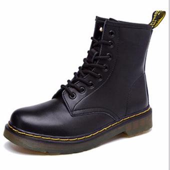 Lace-up Martin Boots 100% Genuine Leather Motorcycle Boots ForWomen&Men (black) - intl