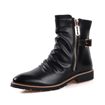 Lace-up Martin Boots Leather Motorcycle Boots For Men,Black - intl