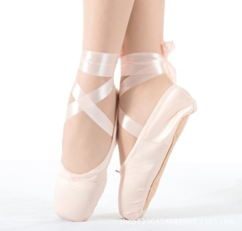 Ladies Ballet Shoes Girl Satin Dance Shoes Canvas Hard Soles NailPractice Shoes - Pink