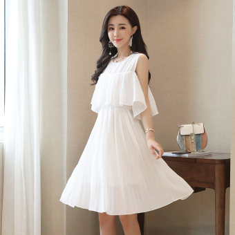 Ladies chiffon solid color long section skirt pleated dress (White)