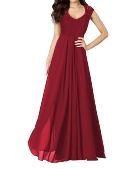 Ladies Evening Dresses Sleeveless Long Designer Evening Gowns Chiffon Party Dress Lace Hollow Out Formal Dresses Red - intl