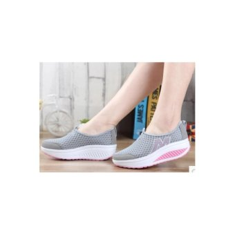 Ladies fashion wedge casual shoes gray - intl - 4