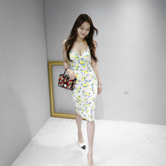 Ladies Korean-style V-neck long section Slim fit Print dress